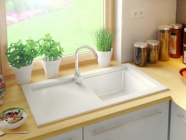 Gránit mosogató Prága - Fehér