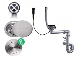 Egymedencés automatikus pop-up szifon + rozsdamentes acél lefolyófedő